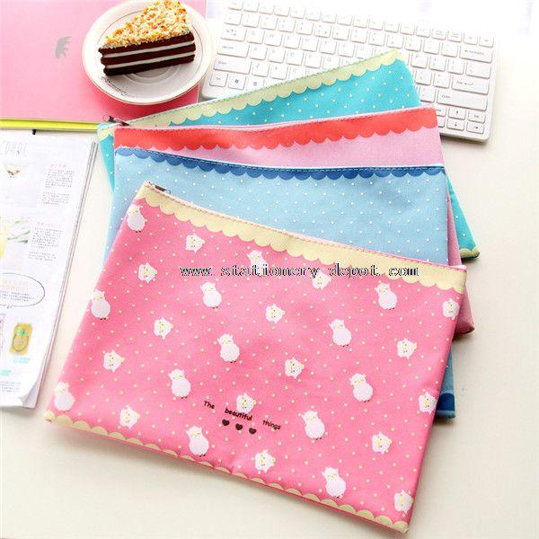 cute zipper file folder bag