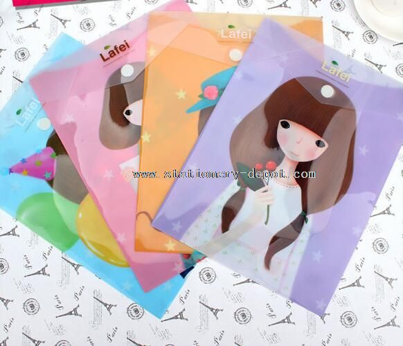 funny girls printed pvc plastic document wallet