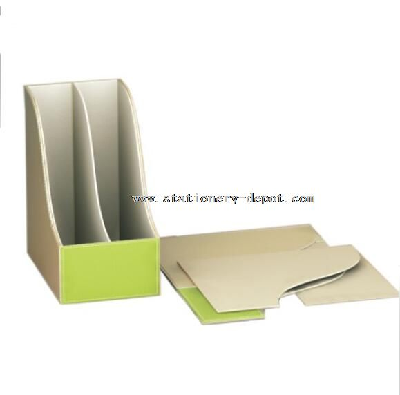 2 slots leather document file tray