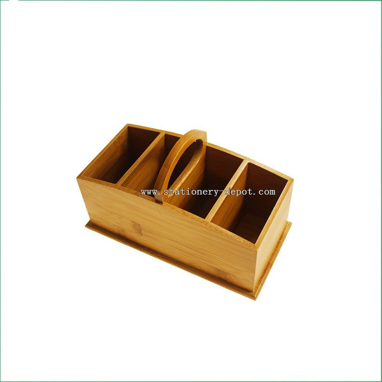 bamboo office desk organizer with handle