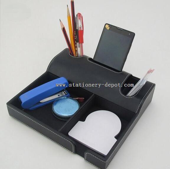 leather functional desk stationary holder