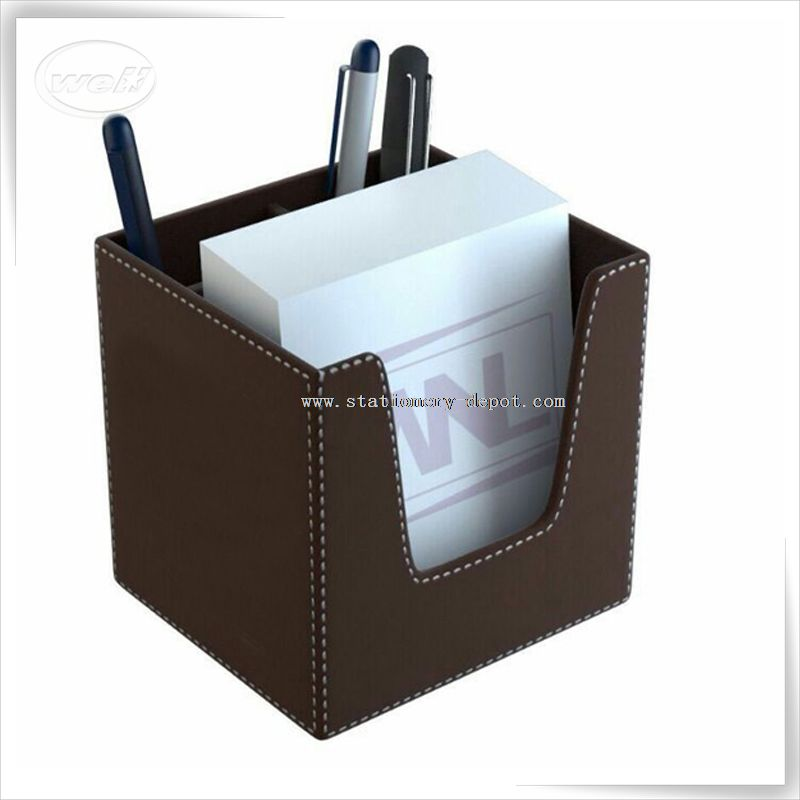 leather pen holder with memo holder