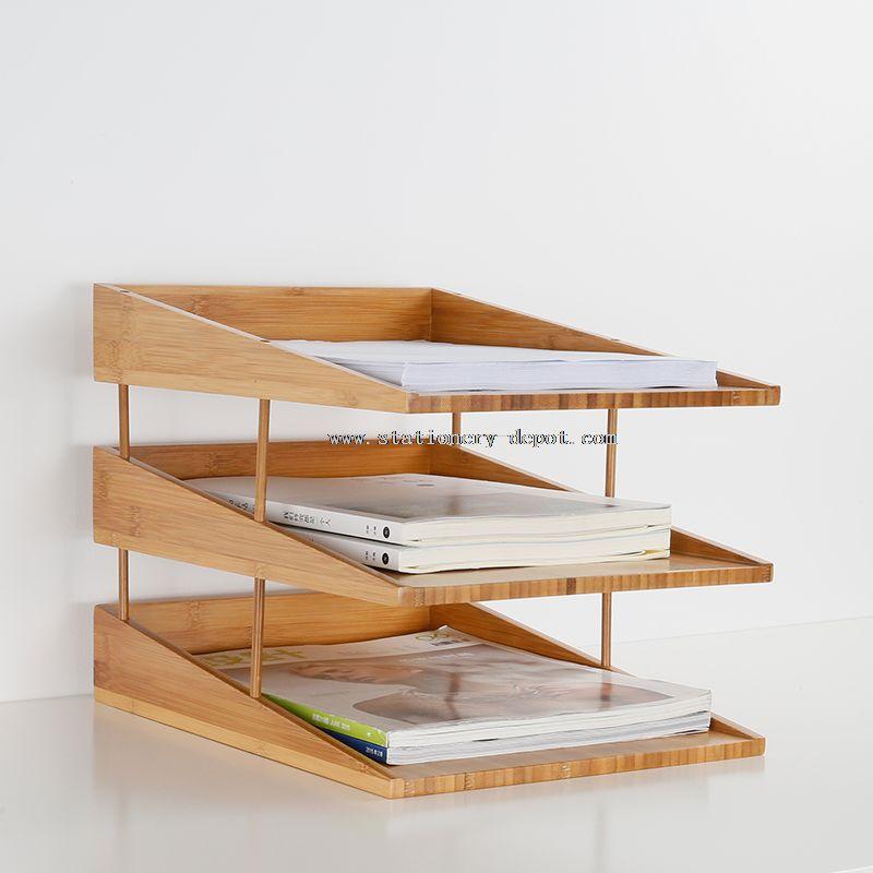 stacking bamboo file tray