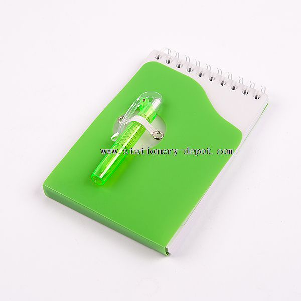 Plastic Cover Spiral Notebook with Pen