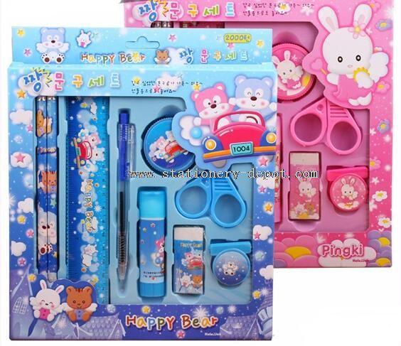 9pcs glue stick happy bear stationery gift set