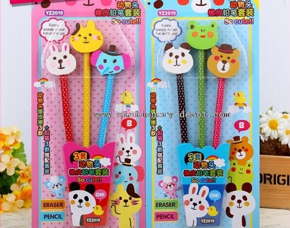 animal head eraser with pencil stationery set