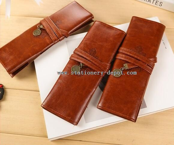 fancy brown pu leather pencil case