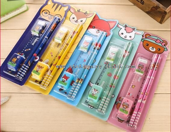 pencil eraser ruler stationery gift set for children