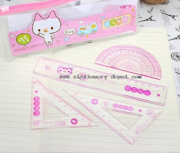 plastic ruler triangle protractor set