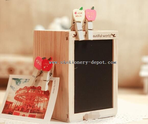 wood pencil holder with blackboard