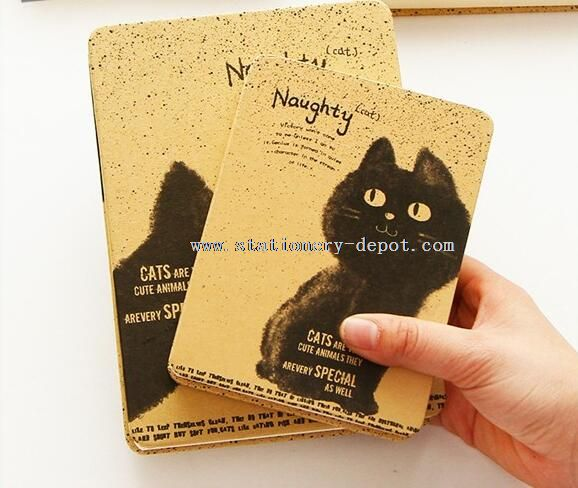 cat kraft paper hardcover notebook