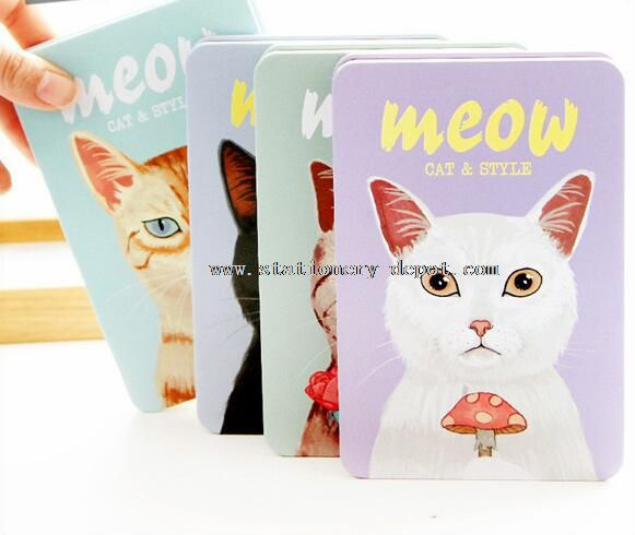 cute cat style metal cover notebook