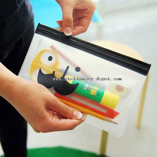 smile transparent PVC clear plastic pencil case with zipper