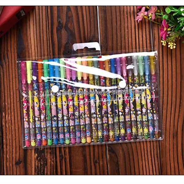 24 colors in one set cartoon pattern penholder glitter gel pen