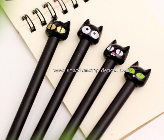 cat design plastic gel pens