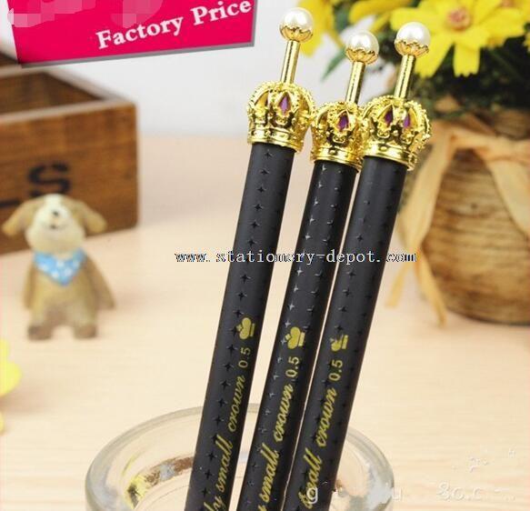 cute crown design black ink pen