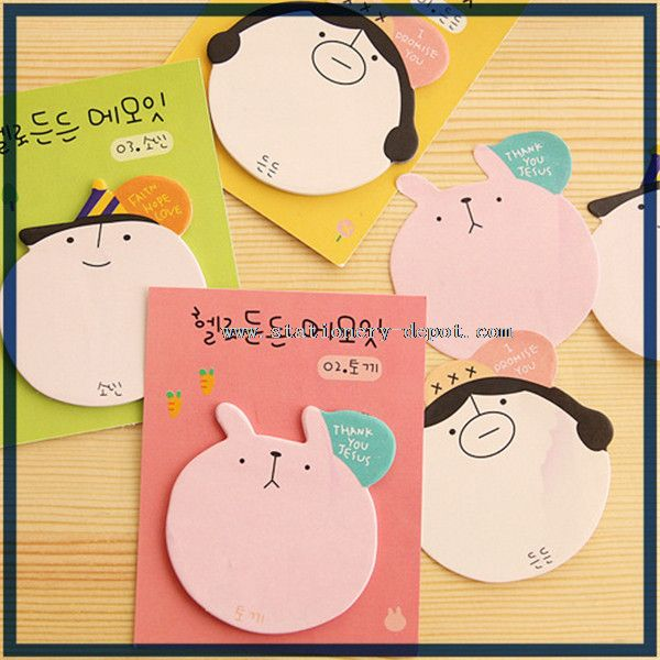 round animal shaped sticky notes