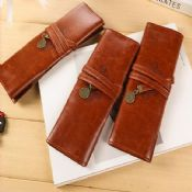 fancy brown pu leather pencil case images