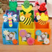 wooden self adhesive table pen holder images