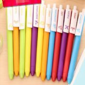 colorful plastic black ink gel pens with logo images