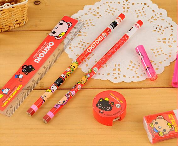 pencil eraser ruler sharpener promotioinal kids stationery set
